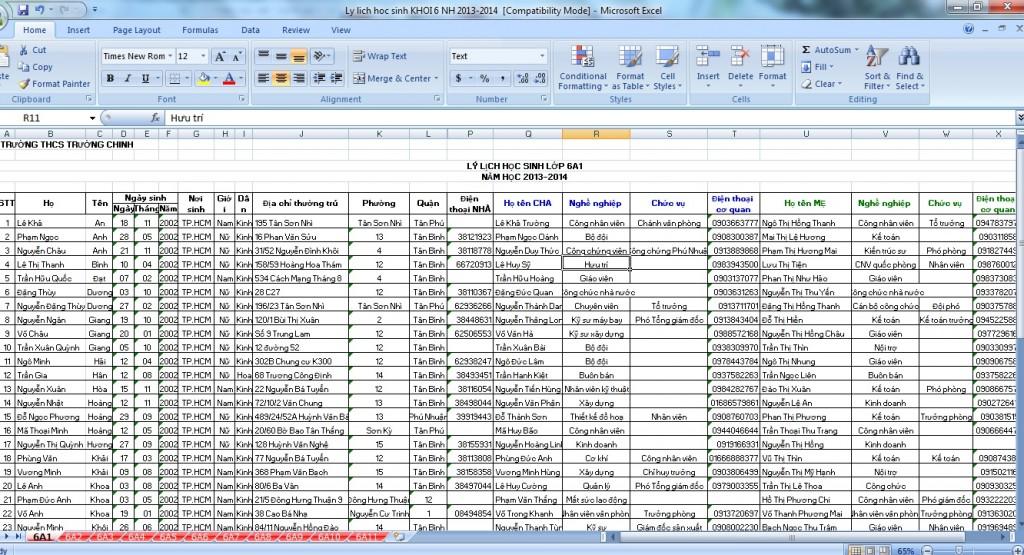 Data phụ huynh học sinh phân đoạn chi tiết